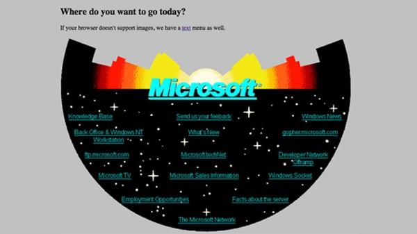وبسایت مایکروسافت در سال ۱۹۹۴ !
